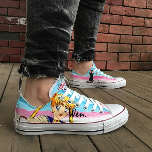 Sailor Moon Custom Converse Shoes Low Top Hand Painted Canvas .