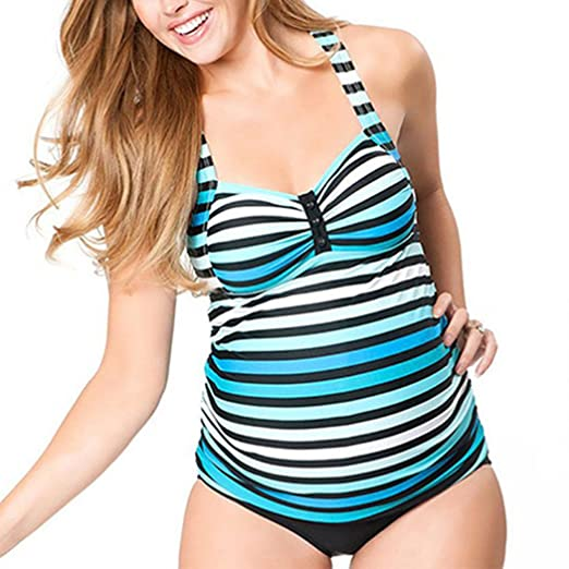 Striped Maternity Tankini Halter Pregnancy Swimsuit Two Piece at .