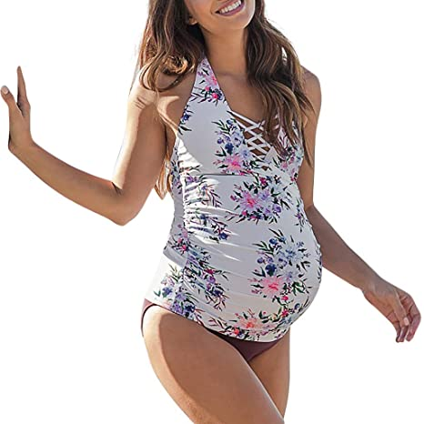 Amazon.com: Maternity Tankini Women Print Strappy Bandage Swimsuit .