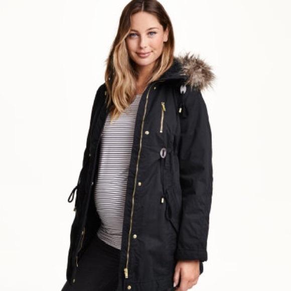 H&M Jackets & Coats | Maternity Winter Coat W Fur Hood | Poshma
