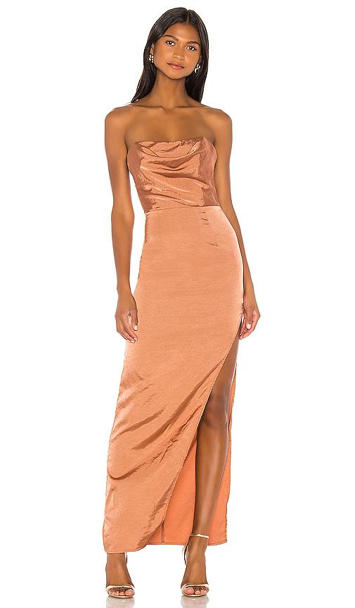 superdown Farah Satin Maxi Dress in Copper | REVOL