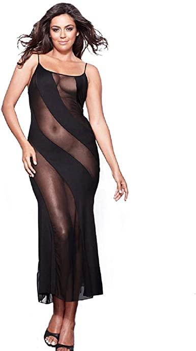 Amazon.com: HiSexy Long Semi Sheer Maxi Dress for Women Plus Size .