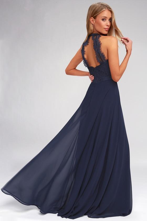 Elegant Maxi Dress - Lace Maxi Dress - Navy Blue Maxi Dre