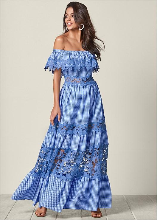 Lace Detail Maxi Dress in Blue & White | VEN