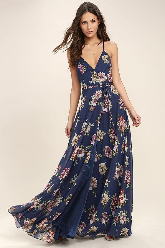Lovely Navy Blue Floral Print Dress - Maxi Dress - Wrap Dress - $98.
