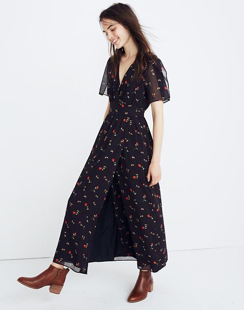 Women's Tulip-Sleeve Maxi Dress in Sweet Blossoms | Madewe