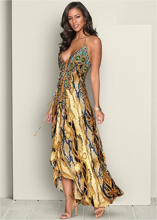 Low Back Printed Maxi Dress in Cream Multi | VEN