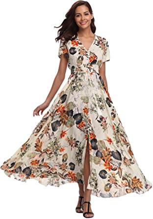 Ferrendo Women's Maxi Dress Button Up Split Flowy Bohemian Party .