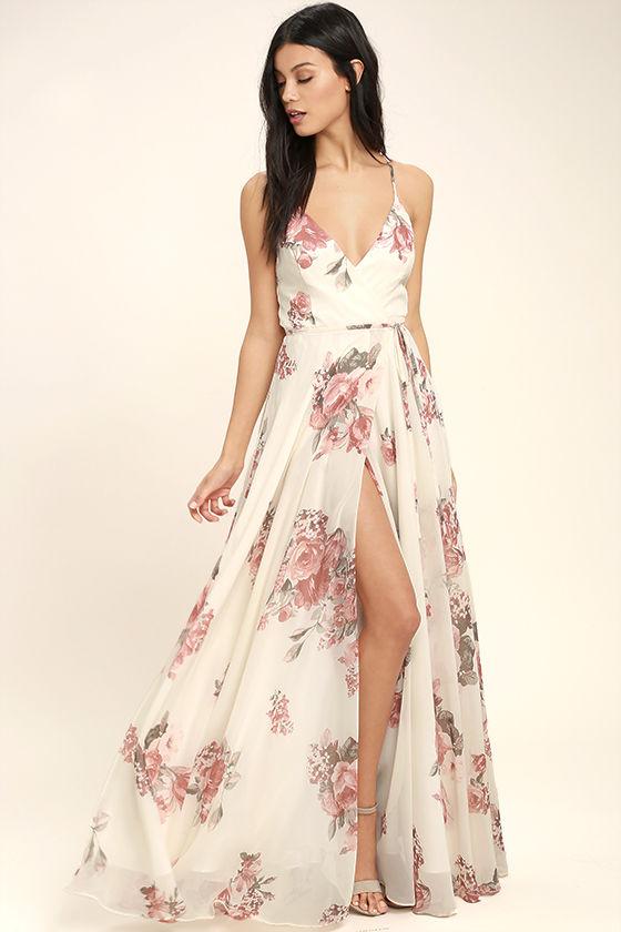 Lovely Cream Floral Print Dress - Wrap Dress - Maxi Dre