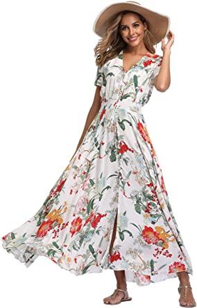 VintageClothing Women's Floral Maxi Dresses Boho Button Up Split .