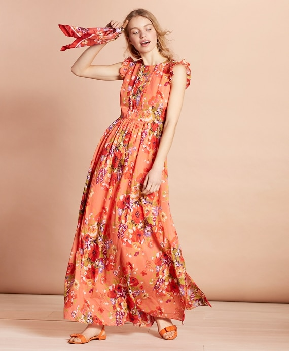 Floral-Print Cotton Maxi Dress - Brooks Brothe