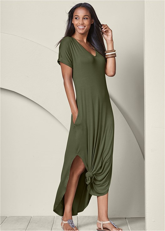 Casual Maxi Dress in Olive | VEN
