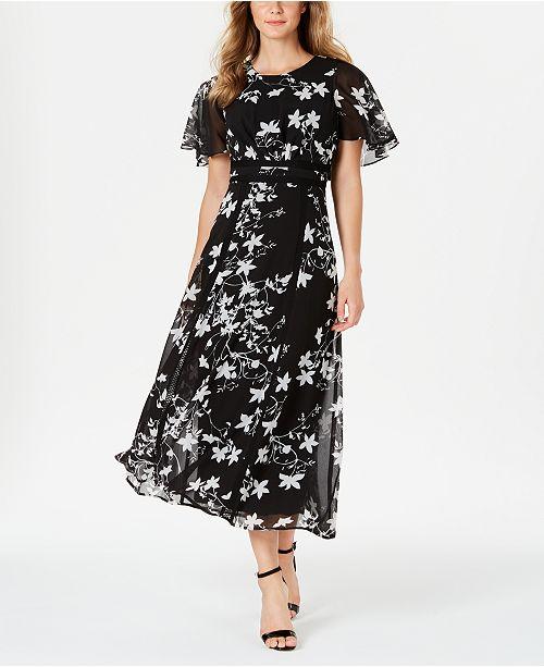Calvin Klein Floral Printed Flutter-Sleeve Maxi Dress & Reviews .