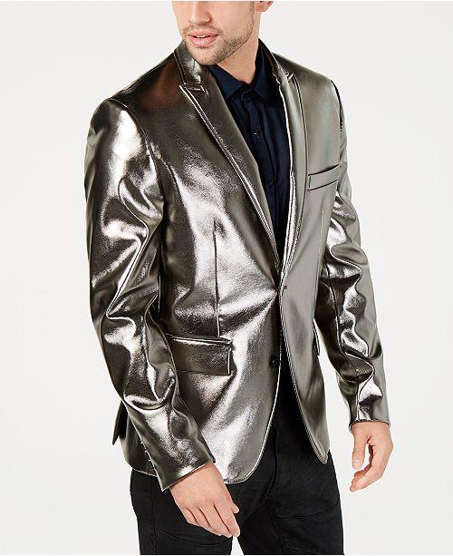 INC International Concepts INC Men's Metallic Faux-Leather Blazer .