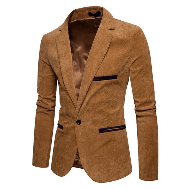 New Fashion Casual Men Blazer Corduroy Patchwork Mens Business One .