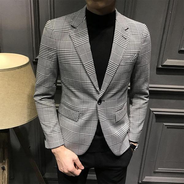 Grey Khaki Plaid Classic Single Button Men Blazer– FanFrea