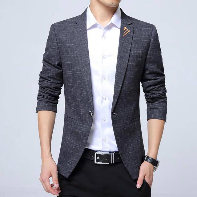 TFETTERS Autumn Men Blazer 2019 Luxury Plaid Design Single Button .