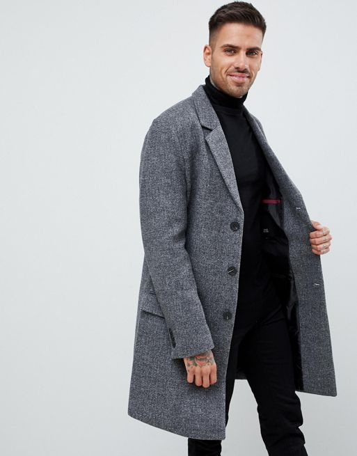 River Island textured overcoat in grey Men Coats [1352502 .