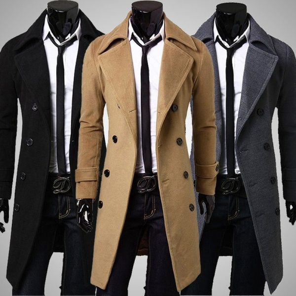 New Trench Coat Men Jacket Mens Overcoat Slim Fit Long Coat Men .