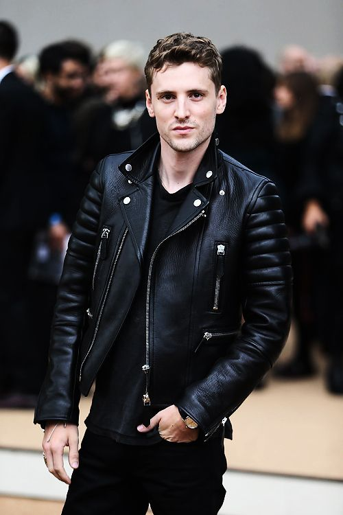 George Barnett in Burberry motorcycle jacket.Buy Mens Leather .