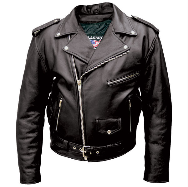 Allstate Leather Inc. Men's Tall Black Buffalo Leather Motorcycle .