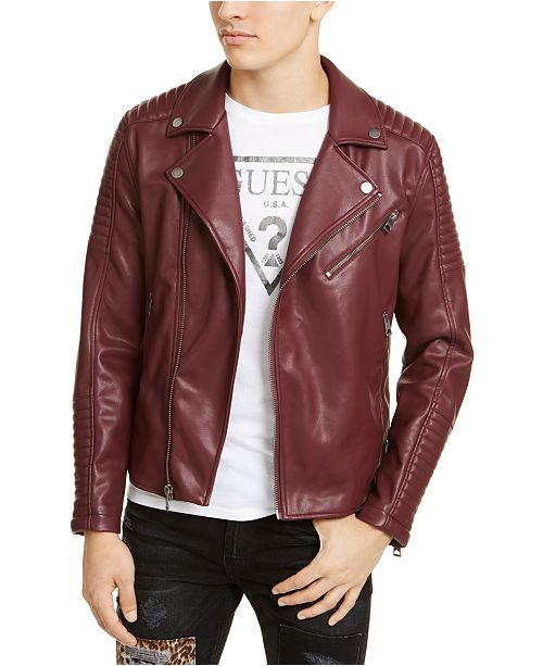 GUESS Men's Fairfax Quilted Faux Leather Biker Jacket & Reviews .