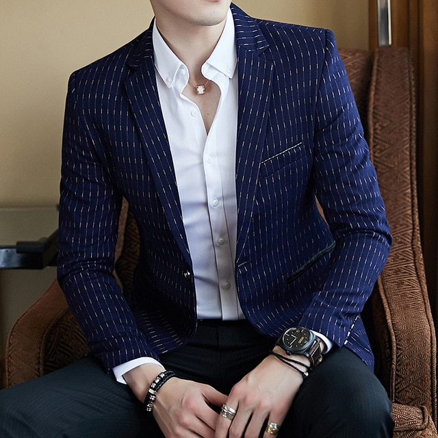 Striped Blazer Mens Slim Fit Blazer Slim Masculino Business Casual .