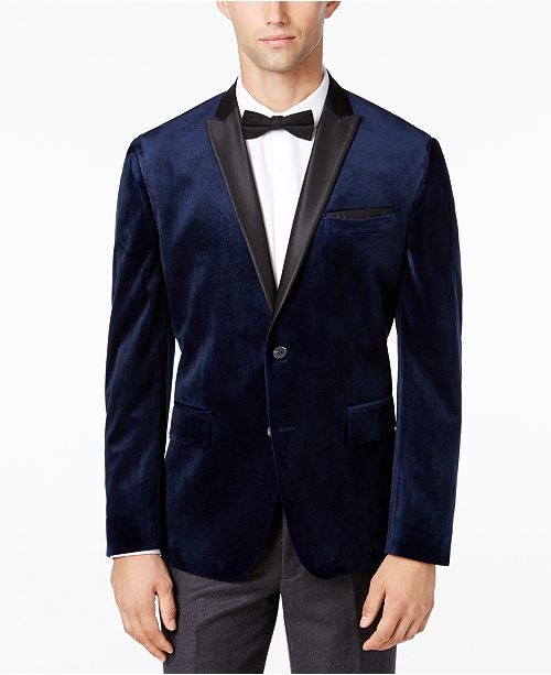 INC International Concepts INC Men's Mason Slim-Fit Velvet Blazer .