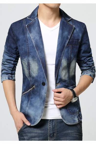 Mens Fashion Long Sleeve Notched Lapel Collar Single Button Blue .