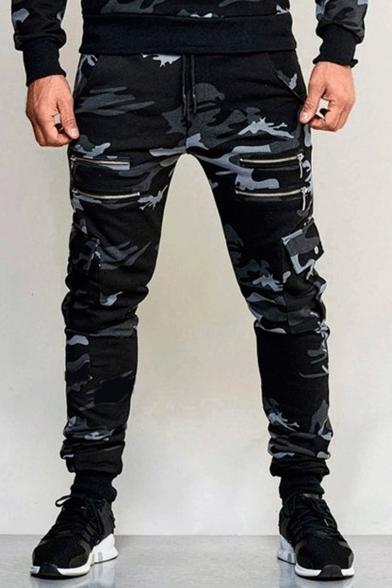 Mens Fashion Camouflage Printed Multi-Zip Embellished Sport Cargo .