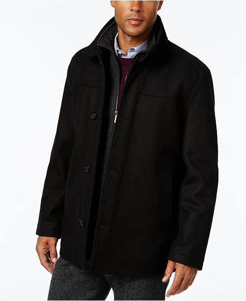 London Fog Men's Wool-Blend Layered Car Coat, Created for Macy's .