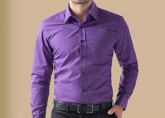 Mens Purple Dress Shirt - Mens Top Sp