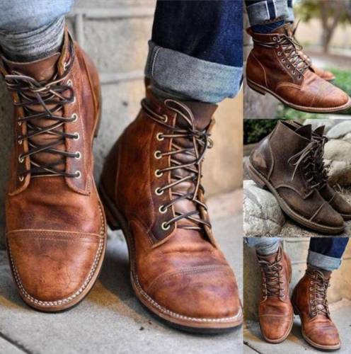 Retro Men's Leather Martin Boots Combat Lace Up Military Army .
