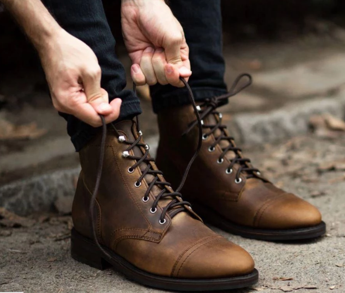 Mens Antique brown Lace up Leather ankle boot, Men antique look .