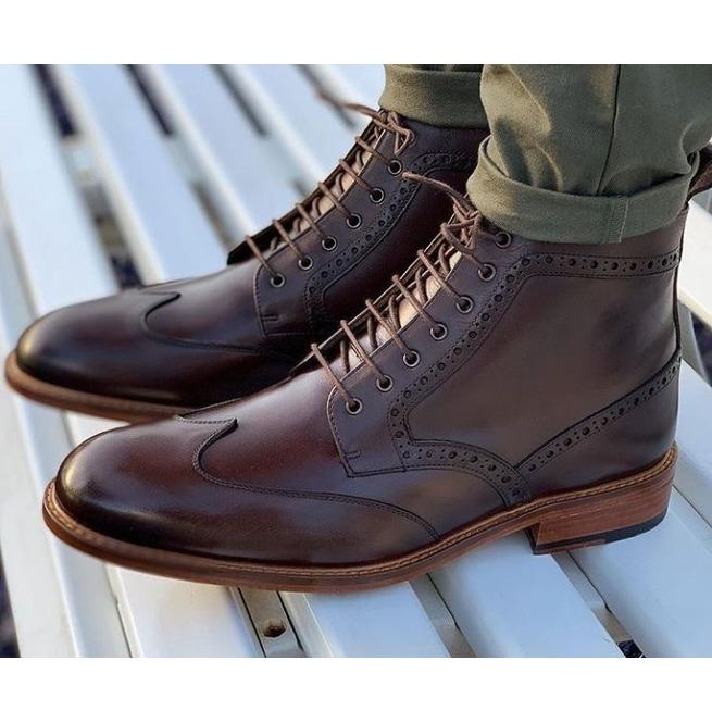 Handmade Mens Coffee Brown Wing Tip Brogue Ankle Boots, | RebelsMark
