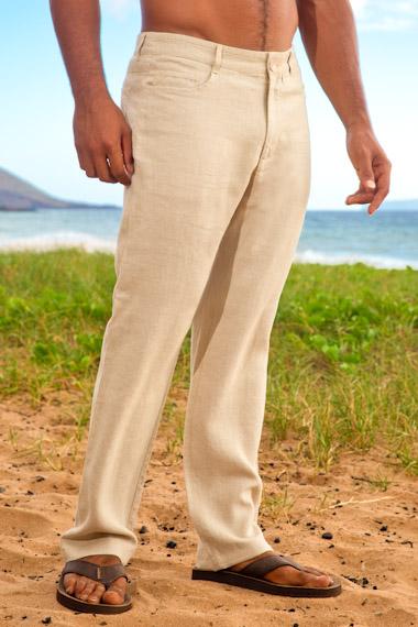 Men's Natural Linen Yacht Pants - Regular Fit - Island Import