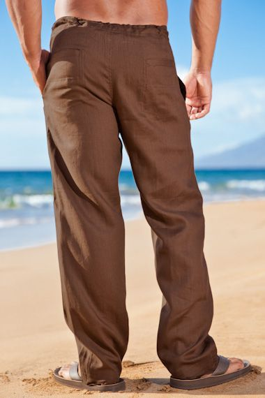 Mens Drawstring, Linen, Beach Wedding Pants, Chocolate | Mens .