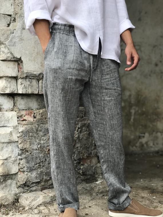 Mens linen pants linen trousers drawstring elastic waist | Et