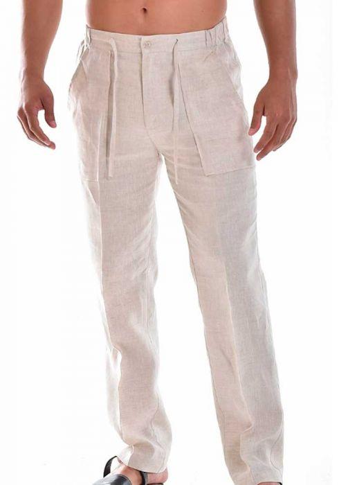 Drawstring Pants for Men Linen / Cotton. Natural Colo