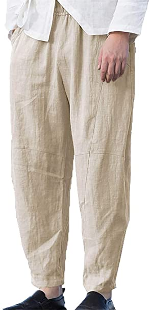 Taoliyuan Mens Linen Pants Casual Drawstring Elastic Waist Loose .