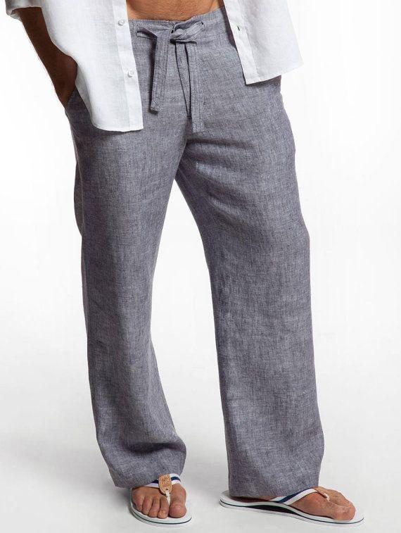 Drawstring Linen Pants for Men by LittleLilbienen on Etsy | Mens .