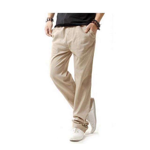 Custom Mens Casual Beach Trousers Linen Summer Pants Loose Fit .