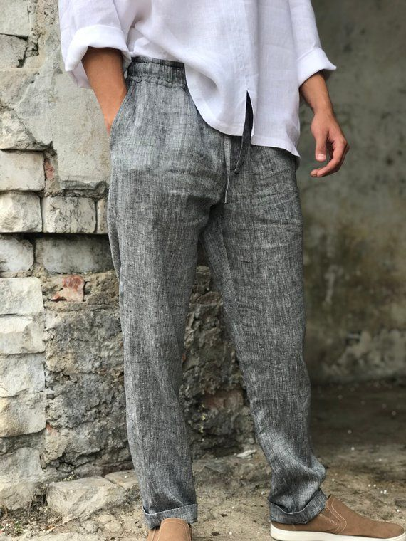 Mens linen pants, linen trousers, drawstring elastic waist pants .