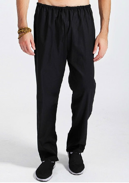 Free Shipping Black Chinese Men's Linen Kung Fu Pants Trousers .
