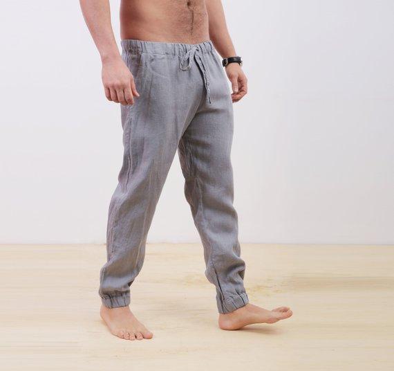 Mens linen pants, Summer pants, Lounge pants, Linen trousers, Gift .