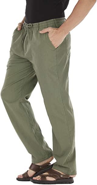 Durzasvo Men's Linen Casual Stretch Drawstring Pant Summer .