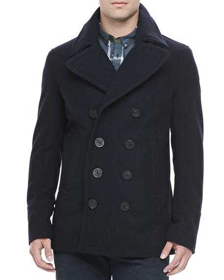 Burberry Brit Men's Wool-Cashmere Pea Coat, Na