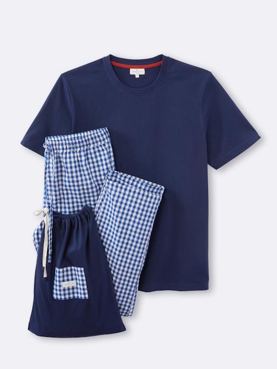 Dual-fabric men's pyjamas - navy/white gingham check, M