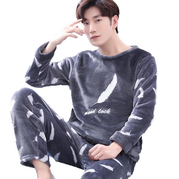 Men's Pajamas Winter Mens Pajama Sets O-Neck Long Sleeve Pyjamas For