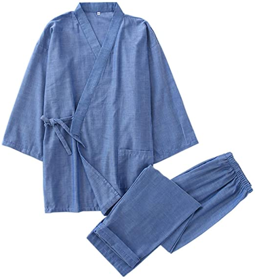 Kimono Robes Gauze Cotton Pajamas Sets Sauna Robes Mens Pyjamas .
